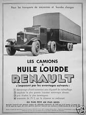 PUBLICITÉ RENAULT LES CAMIONS A HUILE LOURDES POUR LE TRANSPORT CHARGES LOURDES