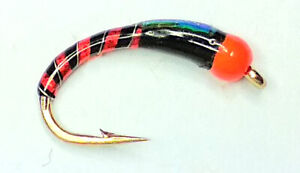EPOXY BUZZER NUGGETT BLACK AND RED TROUT FISHING FLIES - SIZE 10
