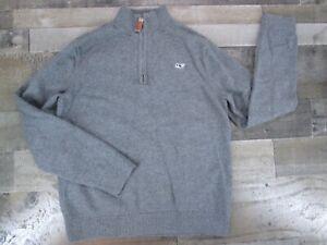Vineyard Vines Boys 6 7 8 Heather Gray Sweater 1/4 Zip 100% Cotton Pullover