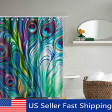 Peacock Feather Waterproof Polyester Fabric Shower Curtain Bathroom w/ 12