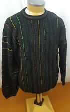 Tundra Canada Mens Sweater Black With Colorful Stripes Large