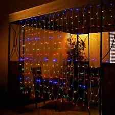 Multi Color 192 LED Solar Curtain Fairy String Light Hanging Gazebo Patio Window