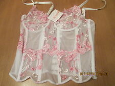 See through white & pink boned basque underwired non padded size 12 D CUP