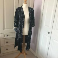 Monsoon Navy Cheesecloth Fringed Artisan Boho Open Long Kimono Jacket Aztec Med