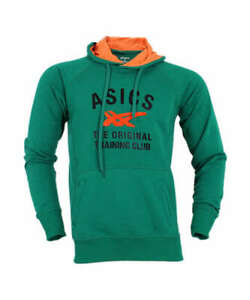 Asics Men's Running Hoodie Training Club Long Sleeve Pullover - Green - New