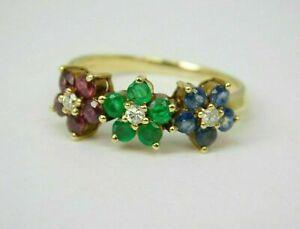 3.25 Ct Round Cut Emerald Ruby Sapphire Diamond Flower Ring 14k Yellow Gold Over