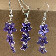 Hawaiian Purple Cz Plumeria Flower Necklace French Hook Earring Set Hawaii