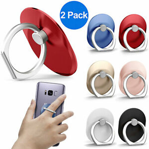 2x Universal 360° Rotating Finger Ring Cell Phone Holder Stand Car for iPhone LG