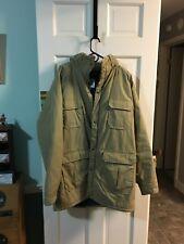 Vintage 1960s Woolrich 4 Pocket Parka Jacket Removable Hood Tan XL