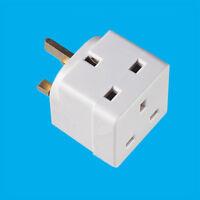 White 2 Way 13 Amp UK Mains 3 Pin Plug Socket Splitter Adaptor, TV, Laptop