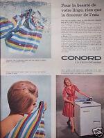 PUBLICITÉ 1960 MACHINE A LAVER CONORD VESTALUX ÉLECTRO -MÉCANIQUE - ADVERTISING