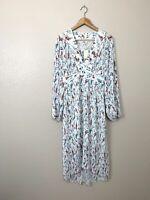 Maje 3 Large Rasiona Floral Print Pleated Crepe Midi Dress New $525