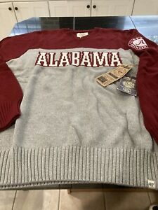 MENS 47 BRAND RETRO ALABAMA CRIMSON TIDE DROP BACK SWEATER RED/GRAY XL NWT