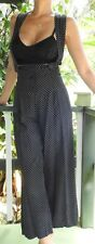 Vintage 80s Black Polka Suspender High Waist Rayon Jumper Wide Leg Jumpsuit S M