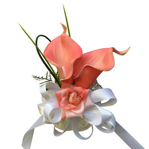 Wrist Corsage -  Real-Touch Coral Calla Lily with Greenery *Pick Ribbon Color*