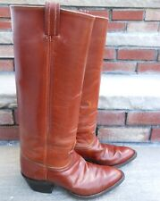 "Tony Lama Tan Brown Stovepipe Cowboy Boots 16"" Tall 39EUR 7 Mens/8.5M Womens US"