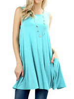 Women Round Neck Sleeveless Flowy Long Career Tunic Blouse Top w/ Side Pockets