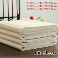 100 Sheets Raw Rice Xuan Paper Ink Absorption Calligraphy Painting Supplies Arts