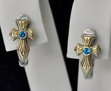 Konstantino London Blue Topaz Cross Huggie Earrings Sterling 18K  Small Kleos