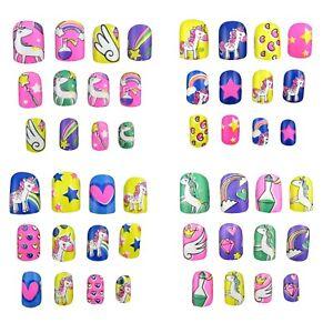 48 PCS Unicorn False Nails Pre-Glue Press on Fake Nail Tips for Kids Girls Favor