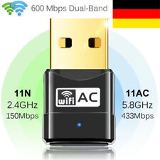 AC 600Mbps WLAN Stick Dual Band WIFI Dongle USB Wireless Adapter + CD Treiber