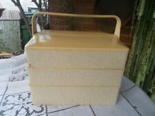 1970's VINTAGE/RETRO  PLASTIC SEWING STORAGE BOX ORGANISER 3 LAYERS & SWINGS OUT