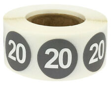 """Steel Number 20 Stickers   0.75"""" Inch   500 Per Roll"""