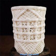 Chinese  Dehua Porcelain Brush pot handwork carved Hollow Pen holder S01