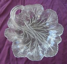 Vintage Indiana Glass Cabbage Pebble Twiggy leaf divided condiment oderve dish