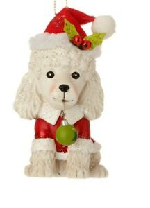 """4.5"""" DOG ORNAMENT POODLE White PUPPY Ugly Sweater Raz 3520022 NEW"""