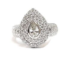 18k White Gold 2.50 Carat Pear Shape Diamond Halo Set Engagement Ring