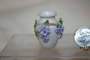 Miniature Dollhouse Vase w Applied Sculpted Cascading Purple Flower Branches
