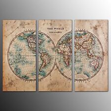 FRAMED Canvas Art Print For Home Decor World Map Wall Art Canvas Painting-3pcs