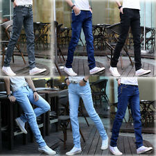 Fashion Boy Slim Fit Casual Washed Denim Pants Cotton White Skinny Men Jeans Hot