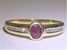 BEAUTIFUL 18CT YELLOW GOLD RUBY & DIAMOND SINGLE STONE ENGAGEMENT  RING