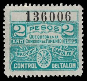 1915 ARGENTINA Revenue Stamp - Santa Fe Province, 2 Pesos 1005