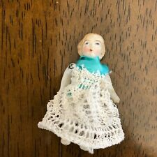 Antique Little Lady All Bisque Jointed Doll 2 1/4� with Molded curls
