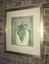 Vintage Original Plant Green Pastel Watercolor Signed Framed Mat 20.25 X 23.25