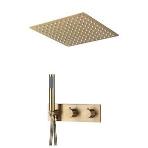 """Thermostatic Concealed Shower Tap Embedded Valve Set Brushed Gold 12"""" Top Shower"""