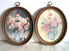 """2 Oval Faux Wood Grain Plastic Frames Glassed with Brass Hangers 11"""" Free Sh"""