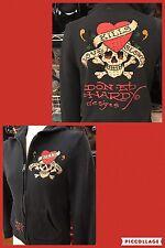 Ed Hardy Womens LOVE KILLS SLOWLY HOODIE  Stones Graphic Sweat Shirt Zip Size M