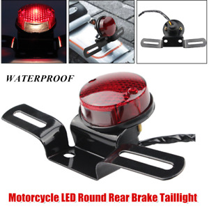 Motorcycle LED Round Rear Brake Taillight License Plate Mount Turn Signal Lamp