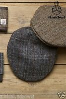 Flat Cap With Harris Tweed Wool Grey or Brown Size S/M, L/XL New (83)