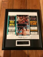 Evander Holyfield Framed Autograph Signed Display Bowe & Douglas Tickets 15.5X17