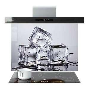 Splashback Glass Kitchen Tile Cooker Panel ANY SIZE Grey Melting Ice Cubes 9097