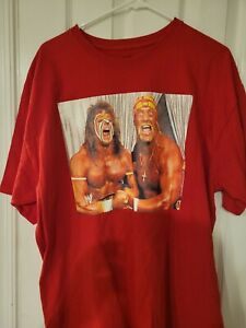 WWF 80s VINTAGE CLASSIC T SHIRT XL HULK HOGAN ULTIMATE WARRIOR WRESTLING RED