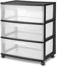 3 Drawer Wide Cart Storage Box Home Organizer Room Sterilite Cabinet Clear Black