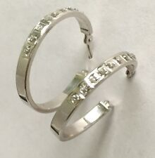 14K SOLID WHITE GOLD Unique Looking HOOP EARRINGS WITH CZ'S SLC