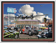 Hot Rod Airplane Art Print - The BOMBER COMMAND CAFE  by Larry Grossman