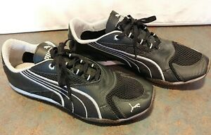 Puma Ladies Black White Suede Running Shoes Size 8 1/2